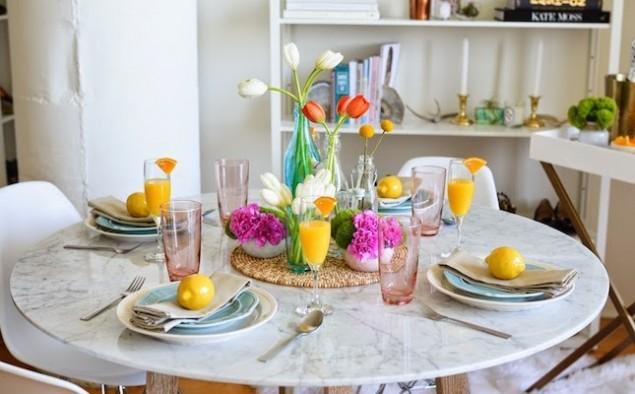 mesa servida colores bright
