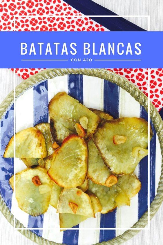 Batatas Blancas con Chips de Ajo