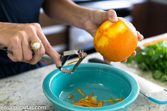 Carne a la Naranja pelador juliana