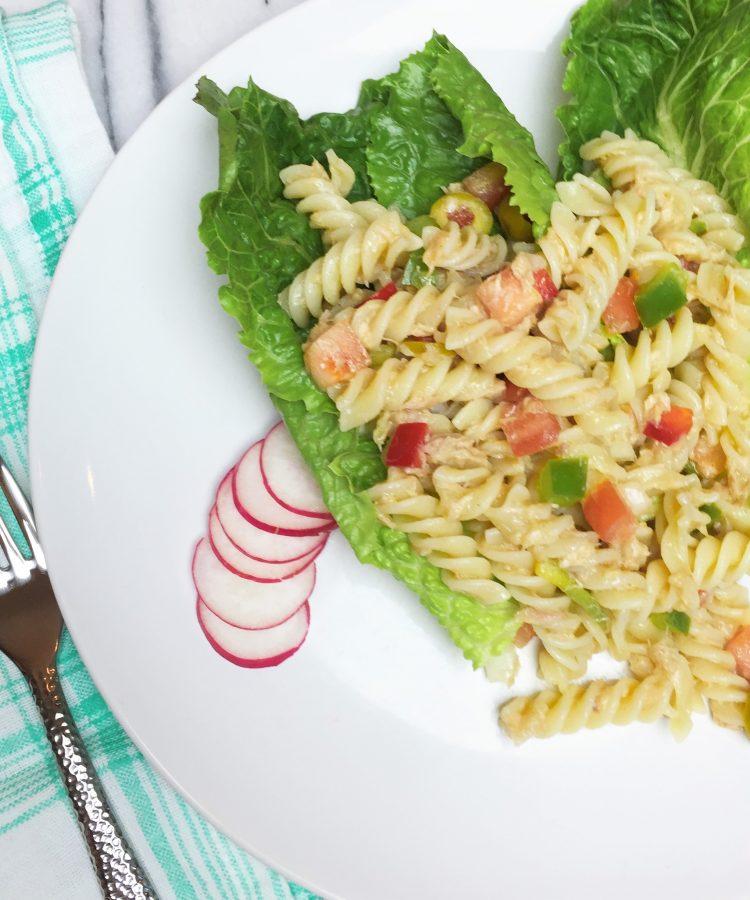 Receta muy facl de pasta con tuna -atun. Ensalada de pasta y atún. www.ensalpicadas.com