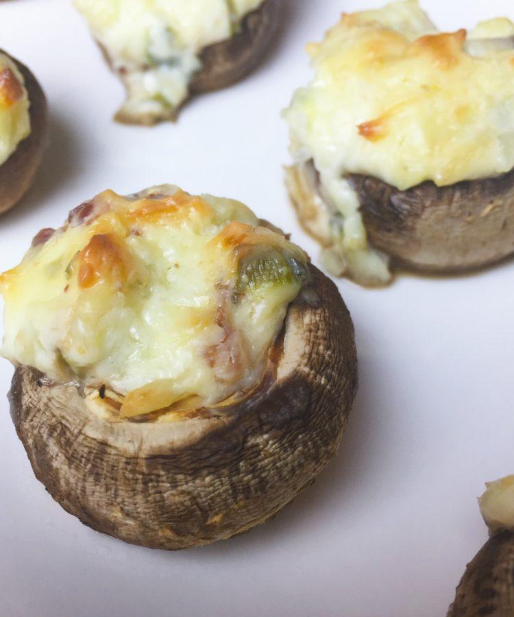 Receta de Setas rellenas con queso y tocineta www.ensalpicadas.com