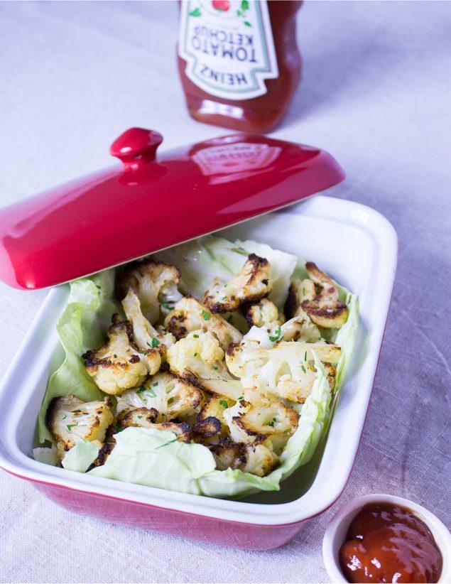 Receta de Coliflor al Horno. Receta fácil vegana, vegetariana, saludable, con mucho sabor.