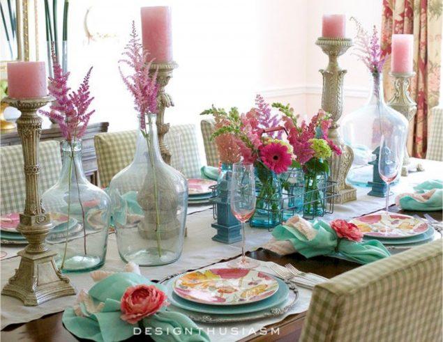 Decoracion de la mesa para primavera y pascua.