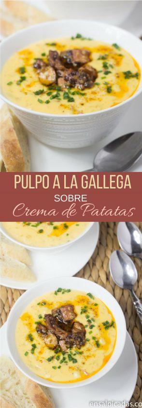 Receta de Pulpo a la Gallega sobre Crema de Patatas (papas) con chorizo.