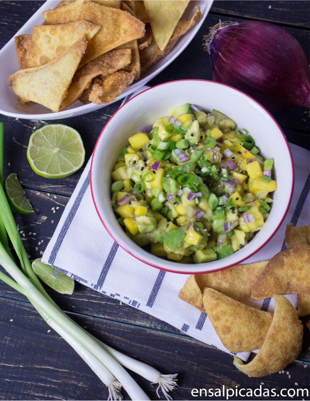 Receta de Salsa Asiatica de Aguacate y Mango