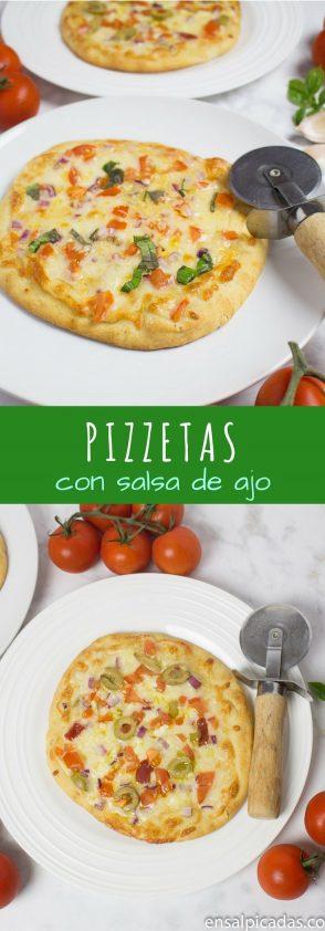 Pizzetas Receta muy Fácil con salsa de ajo