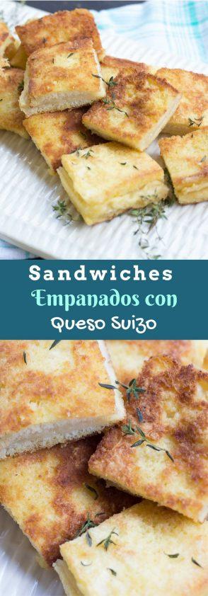 Sandwiches de Queso Suizo Empanados con ingrediente secreto. La harina del empanado te sorprenderá.