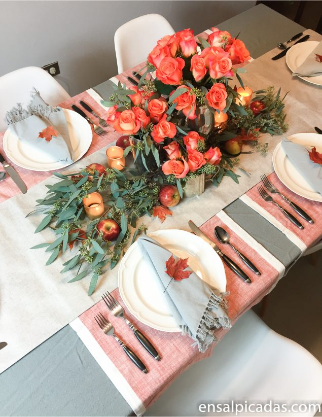 Ideas para Decorar en Acción de Gracias. Thanksgiving table setting tablescape