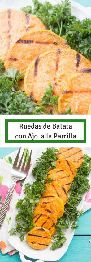Receta de Ruedas de Batata con ajo a la parrilla, batata al bbq