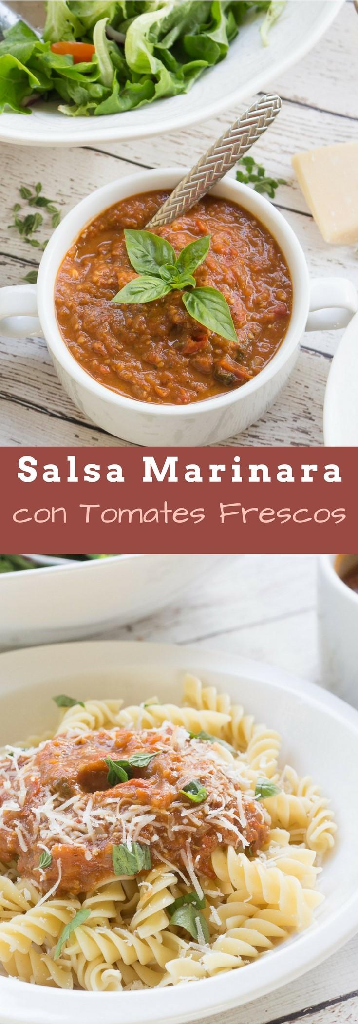 Salsa marinara con tomates frescos receta ensalpicadas for Hacer salsa marinera