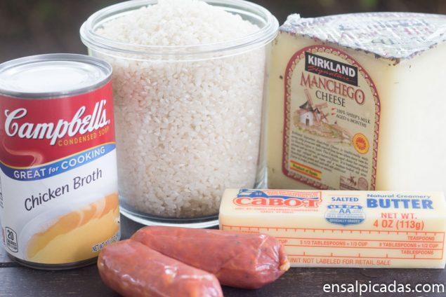 Receta de Arroz con Queso Manchego y Chorizo Español.