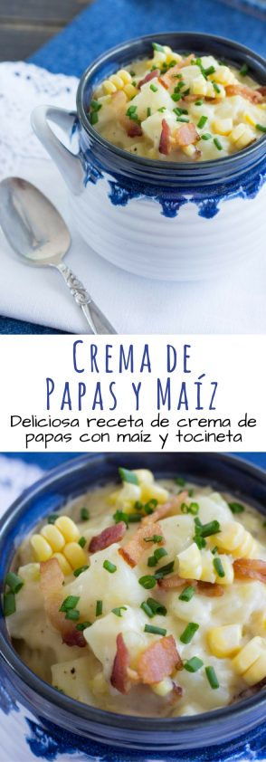 Deliciosa receta de crema de papas espesa con tocino y maíz fresco