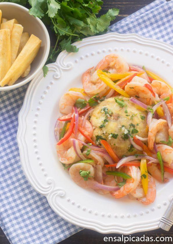 Receta de Ensalada de Camarones y Mofongo de Yuca
