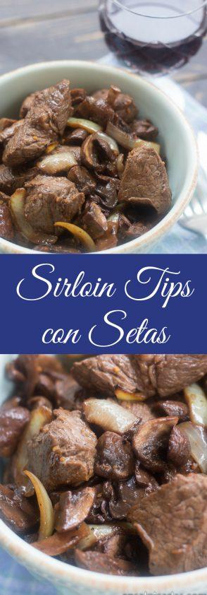 Receta de Sirloin Tips con Setas