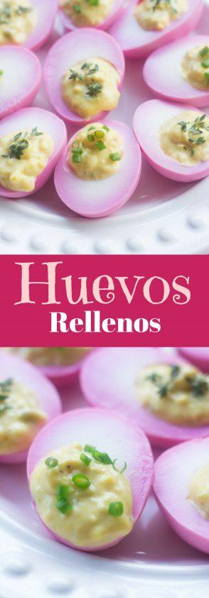 Receta de Huevos Rellenos Son deliciosos con mostaza y hierbas. Se mojan con vinagre de remolacha.