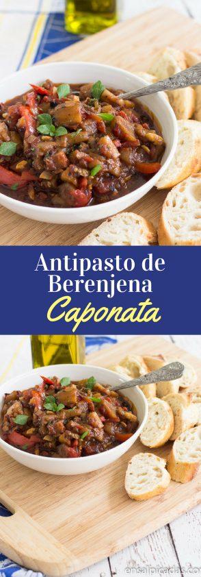 Receta de Caponata un Antipasto Italiano de Berenjena