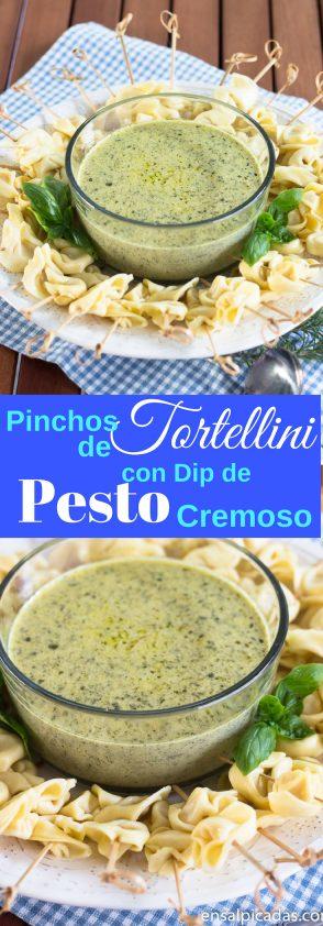 Receta de Pinchos de Tortellini con un dip de pesto con crema