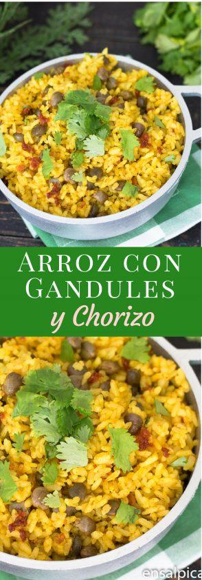 Receta de Arroz con Gandules y Chorizo