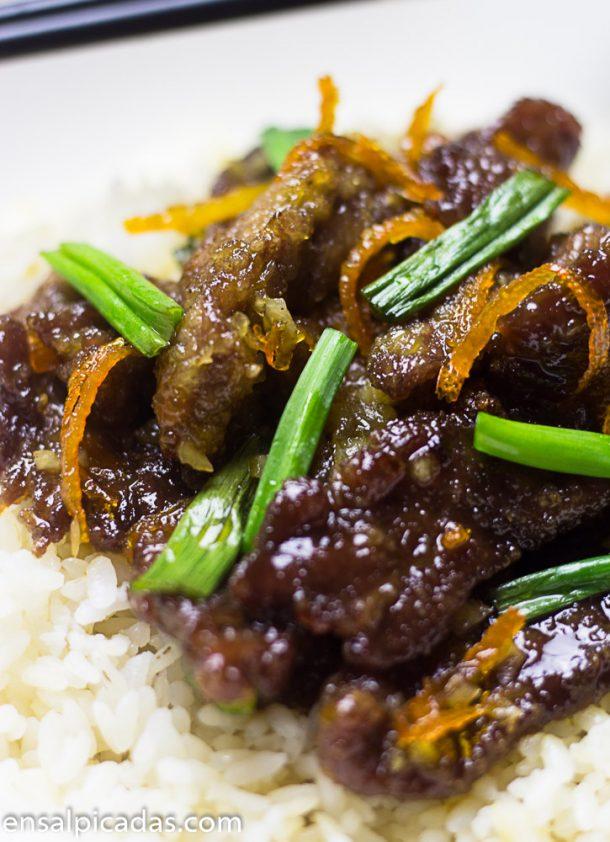 Receta de Carne a la Naranja o Crispy Orange Beef