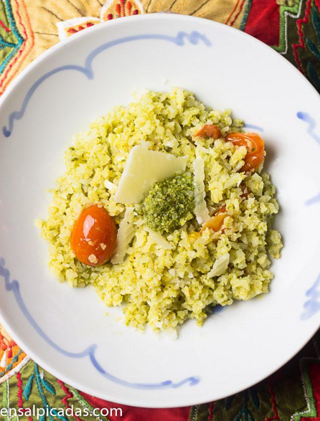 Receta de Arroz de Coliflor con Pesto