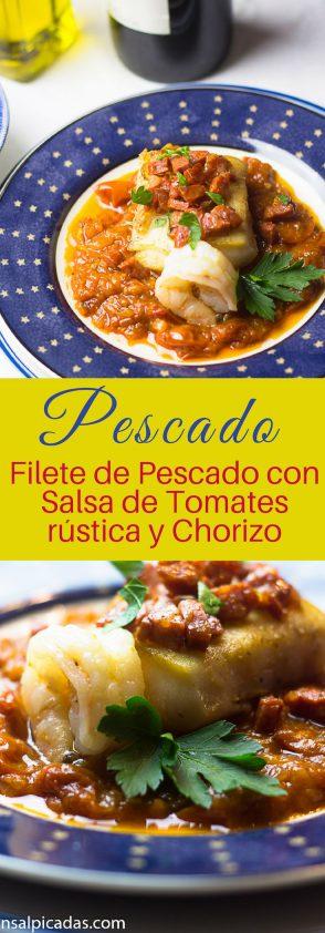 Receta de Filete de Pescado con Salsa de tomates rústica y chorizo. Espectacular.