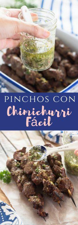 Receta de chimichurri fácil con pinchos de carne.