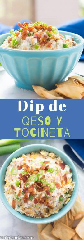 Receta de Dip de Quesos con Tocineta, cebolla y ajo.