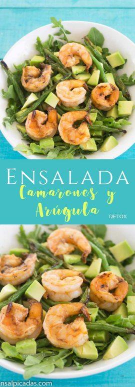 Receta saludable de ensalada con camarones arúgula y aguacate