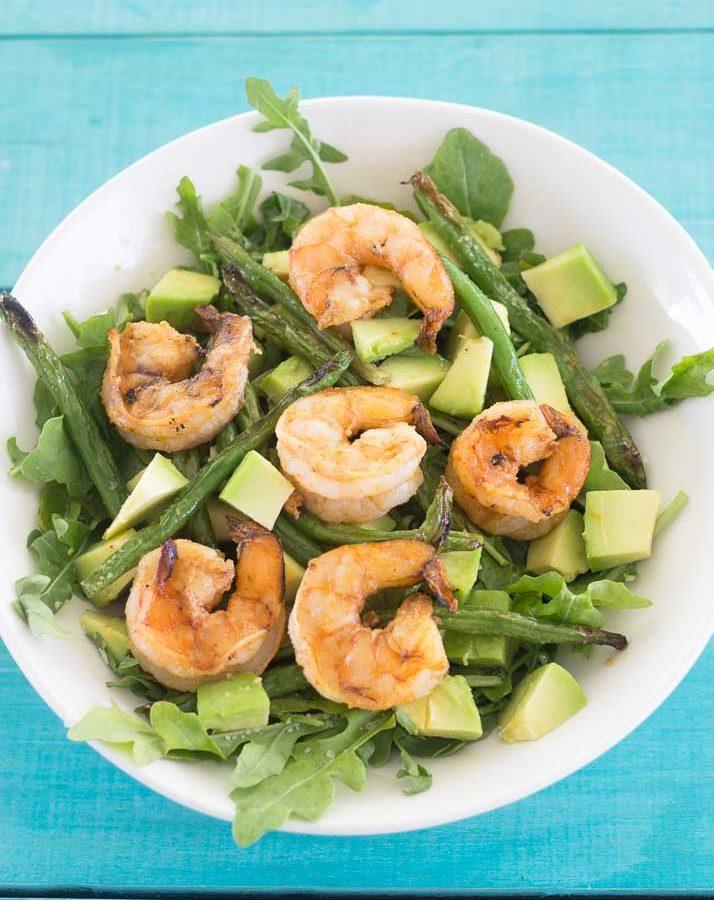 Receta saludable de Ensalada de Arugula con Camarones