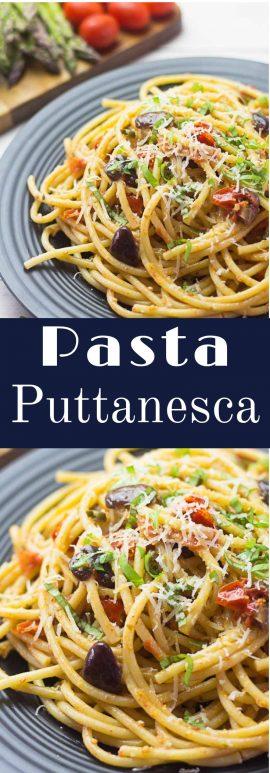 Receta de Pasta Puttanesca sencilla.