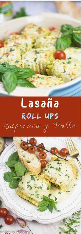 Receta de lasaña enrollada en roll ups con espinaca y pollo