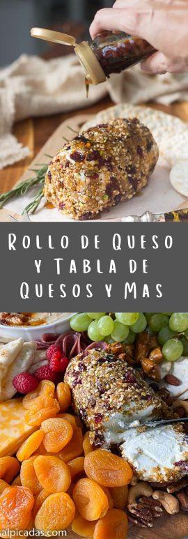 Rollo de Queso y bandeja (tabla) de entremeses fríos con jamones y quesos