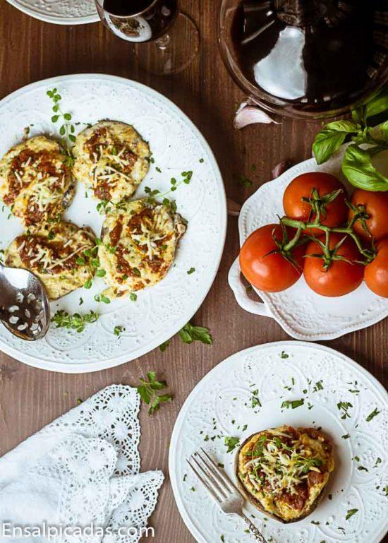 REcetas italiana de setas portobello rellenas sin carne
