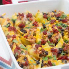 Receta de pasta shells rellenas de carne molida, chorizo y queso