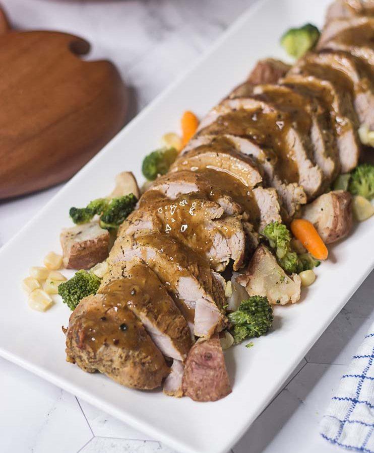 REceta de Filete de Cerdo al horno con salsa.