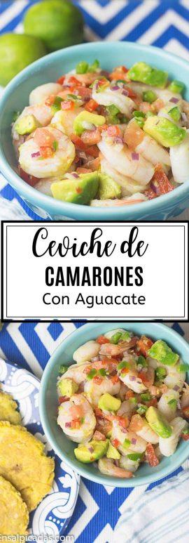 REceta de Ceviche de Camarones con Aguacate. Receta fácil.