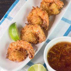 Receta Sencilla de Camarones con Coco y salsa de naranja y sweet chili