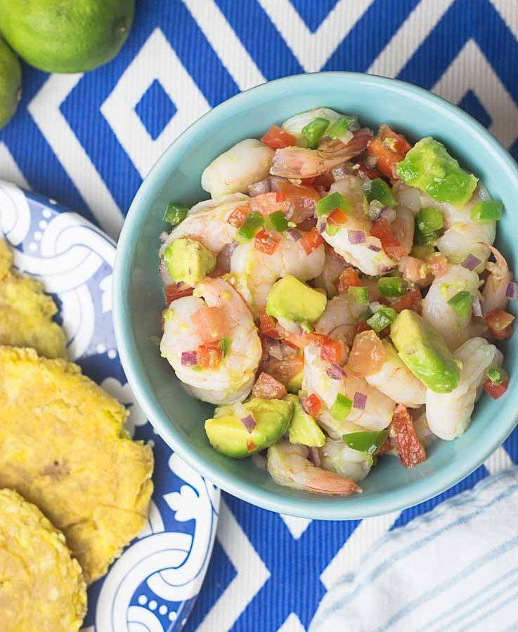 REceta de Ceviche de Camarones con Aguacate.
