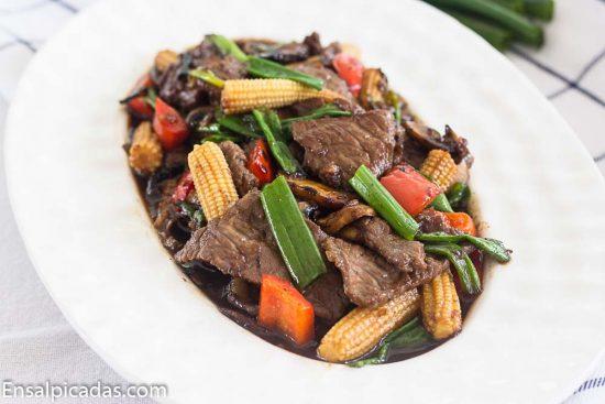 Receta de carne mongolian
