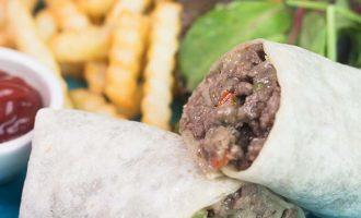 Wrap de Carne Molida estilo philly cheese steak