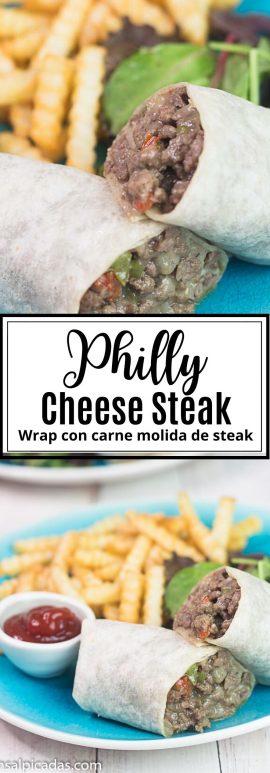 Wrap de Carne Molida estilo philly cheese steak