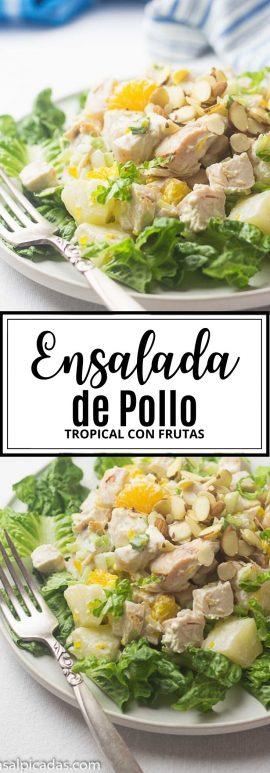 Receta de Ensalada de Pollo Tropical con frutas