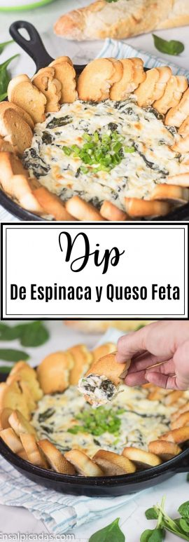 Receta de Dip caliente de espinaca con queso feta