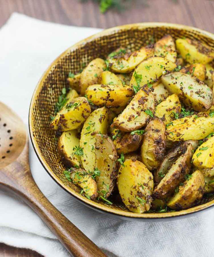 Receta sencilla de papas con hierbas y mostaza de grano