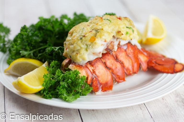 Receta de Langosta rellena de cangrejo (crab cake)